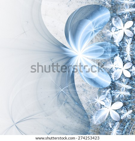 Gentle blue fractal flowers, digital artwork for creative graphic design - stock photo