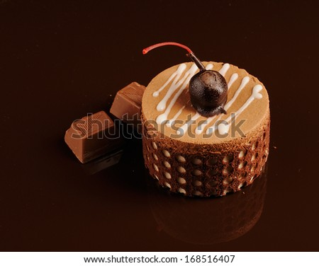 gentle chocolate cherry cake - stock photo