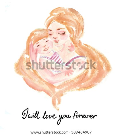 Gentle illustration of happy mom and her baby-girl and lettering - stock photo