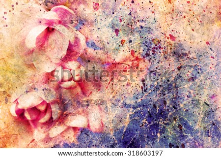 gentle pale pink lilac flowers and watercolor splashes - stock photo