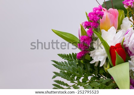 Gentle pink bouquet closeup. Bouquet for the beloved. - stock photo