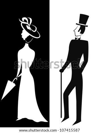 Gentleman and Lady, symbolic vintage style, black and white silhouette - stock photo
