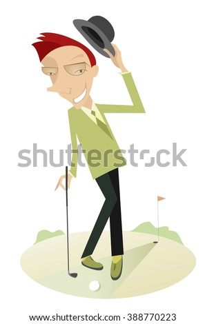 Gentleman on the golf course. Man with golf club smiles and takes off his hat  - stock photo