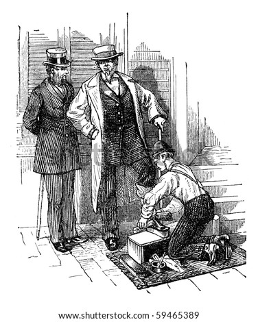 "Gentlemen having their shoes polished in New York. Illustration originally published in Hesse-Wartegg's ""Nord Amerika"", swedish edition published in 1880. - stock photo"