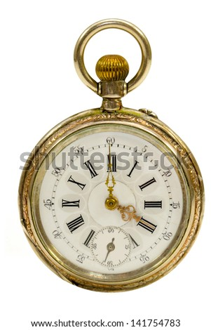 Gentlemen's French Antique Watch Isolated on White - stock photo