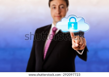 Gently smiling businessman is reaching forward to touch a locked cloud icon floating in mid-air. Technology metaphor for cloud computing, cyber security, information privacy and authentication. - stock photo