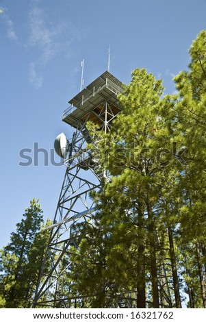 Gentry Fire Lookout Tower in the Apache-Sitgreaves national  forest in Arizona's White Mountains. - stock photo