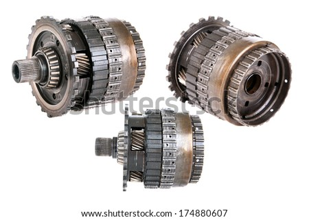Genuine Car Transmission Gears and parts. Heavy Metal Gears, Cogs, Splines, Teeth, Bearings and more isolated on white for all your Transmission parts images needs. Images easily removed clipped out  - stock photo