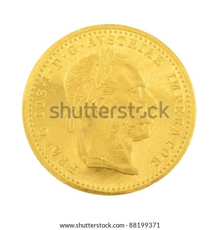 Genuine gold coin isolated on white background. - stock photo