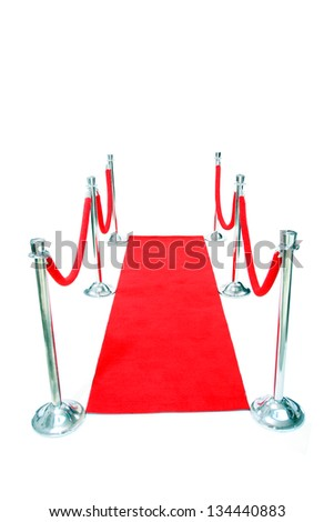 Genuine Hollywood Red Carpet with Red Velvet Ropes and Silver Stantions, isolated on white with room for your text - stock photo