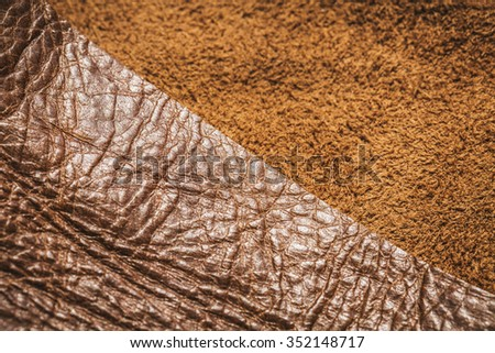 Genuine Leather and Suede, Brown. Close up Shot. Concept and Idea of Fine Leather Crafting, Handmade Leather Handcrafted, Background Textured and Wallpaper. - stock photo