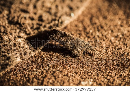 Genuine Leather Suede, Brown. Close up, Macro Selective Shot. Concept and Idea of Fine Leather Crafting, Handmade Leather Handcrafted, Background Textured and Wallpaper. - stock photo