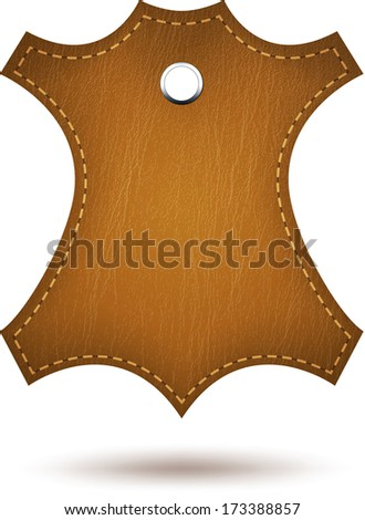 Genuine leather symbol isolated on white. - stock photo