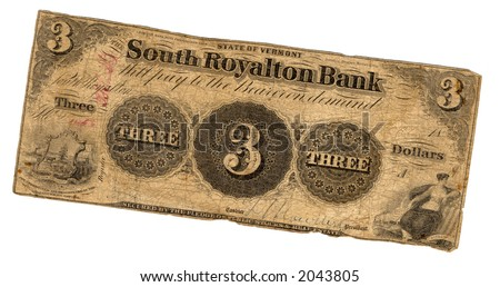genuine three dollar bill united states currency issued by the state of Vermont in 19th century - stock photo