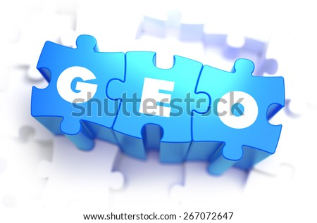 GEO - White Word on Blue Puzzles on White Background. 3D Illustration. - stock photo