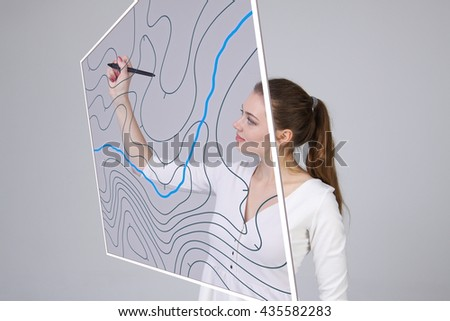 Geographic information systems concept, woman scientist working with futuristic GIS interface on a transparent screen. - stock photo