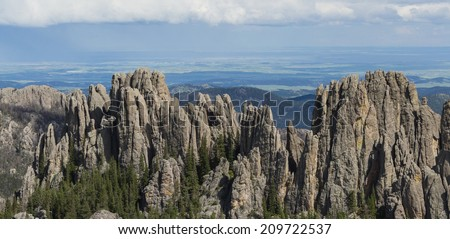geological beautiful granite rock formations in the Black hills of south dakota - stock photo