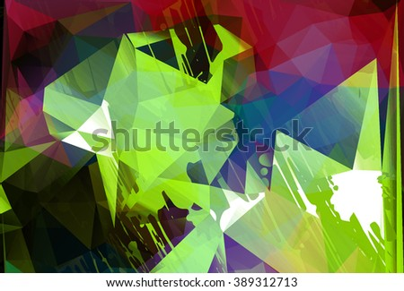 Geometric abstract background with splashes. Hipster backdrop. Modern ink design. Artistic polygonal background. Futuristic art. - stock photo