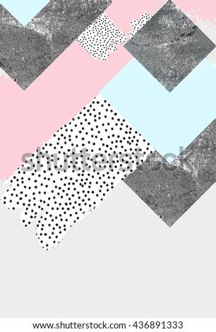 Geometric art print, abstract modern and trendy design, minimalistic nordic universal card - stock photo