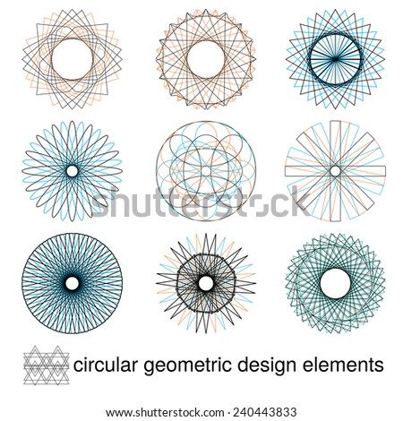 Geometric circular design elements, JPEG version - stock photo