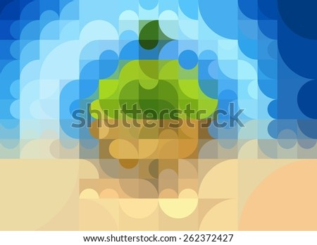 Geometric concept of ecology of the planet earth - stock photo