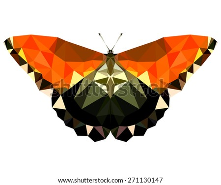 Geometric delicate butterfly with many triangles  - stock photo