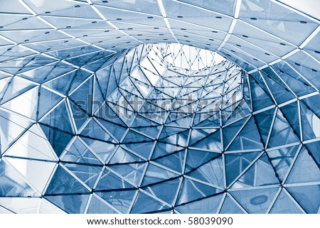 geometric glass facade - stock photo