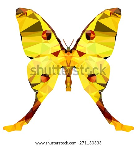 Geometric graceful butterfly with many triangles  - stock photo