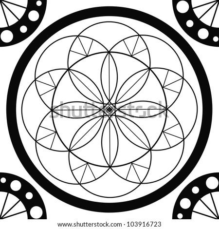 Geometric mandala sacred circle Black and White Coloring Outline - stock photo