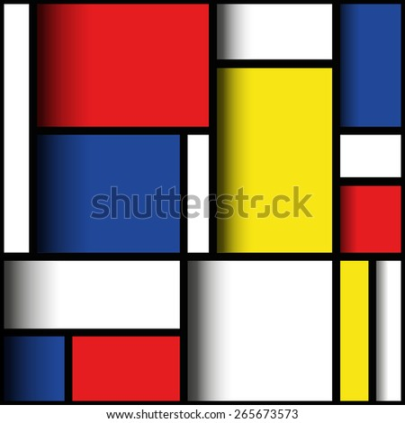Geometric material design in primary colours, with three dimensional layered effect. Mondrian style.  - stock photo