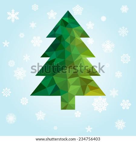 geometric new year tree - stock photo