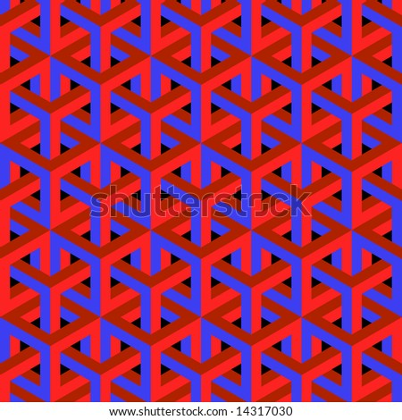 Geometric optical art background in red and blue. - stock photo