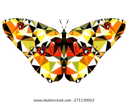 Geometric refined butterfly with many triangles  - stock photo
