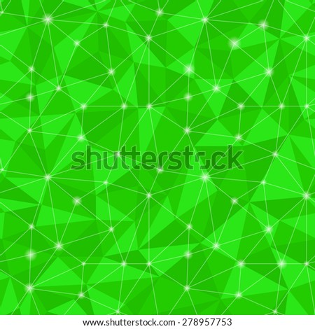 Geometric seamless pattern  from triangles. Green illustration. - stock photo