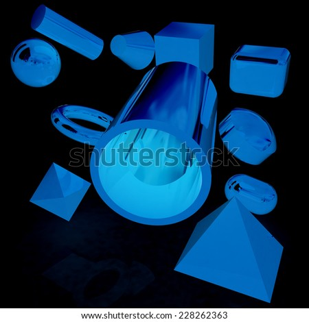 Geometric shapes on a black background - stock photo