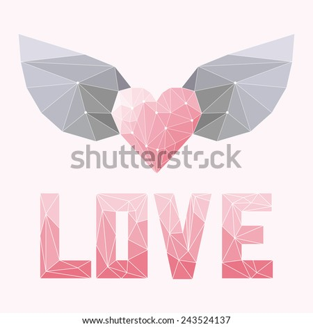 geometric soft colored triangular abstract polygonal heart with wings and love word isolated on pink cover for use in design for valentines day or wedding greeting card. Raster copy - stock photo