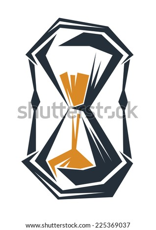 Geometric stylised hour glass motif, in black with yellow sand, isolated on a white background - stock photo