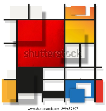 Geometric suprematism pattern in style neo-plasticism abstract art - stock photo