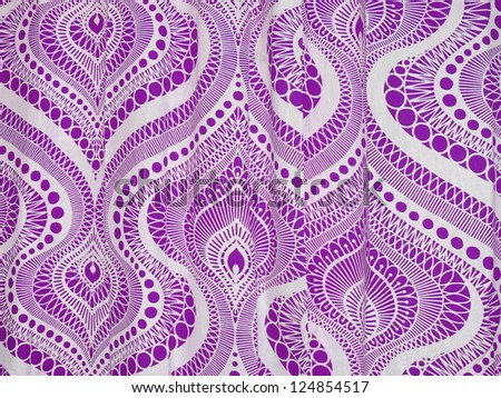 Geometric, vibrant arabian style textile in white and violet. - stock photo
