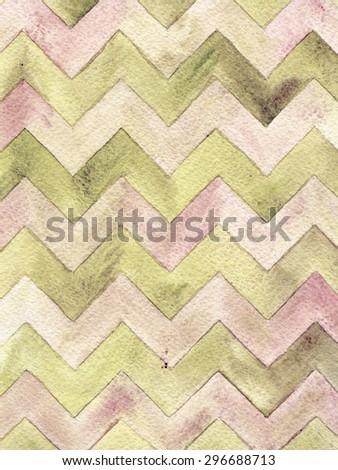 Geometric watercolor chevron pattern. Grunge background. Vintage card. - stock photo