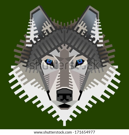 Geometric wolf's face isolated on green. Graphic wolf head front view. Qualitative element for identity design, branding, tattoo and much more. Good illustration for circus, zoo, wildlife, nature, etc - stock photo