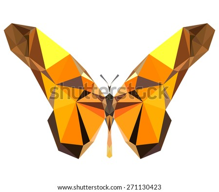 Geometric yellow butterfly with many triangles  - stock photo