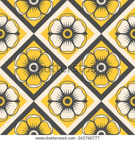 Geometrical pattern with flowers in yellow colors, seamless  background. For fashion textile, cloth, backgrounds.  Raster version. - stock photo
