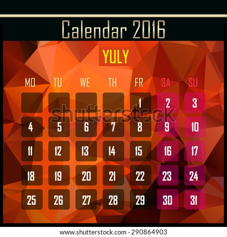 Geometrical polygonal triangles 2016 calendar design for july month - stock photo