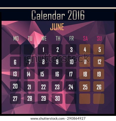 Geometrical polygonal triangles 2016 calendar design for june month - stock photo
