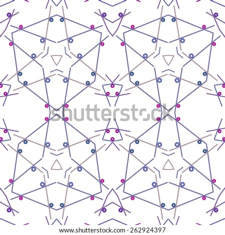 Geometrical seamless pattern circle, lines and star, raster graphics. - stock photo