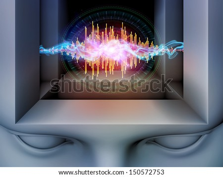 Geometry of Mind series. Composition of human head and fractal elements suitable as a backdrop for the projects on human mind, consciousness, brain, reason, logic and creativity - stock photo