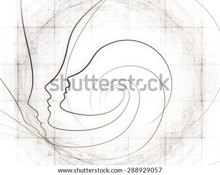 Geometry of Soul series. Artistic abstraction composed of profile lines of human head on the subject of education, science, technology and graphic design - stock photo