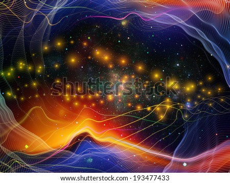 Geometry of Space series. Interplay of conceptual grids, curves and fractal elements on the subject of physics, mathematics, technology, science and education - stock photo
