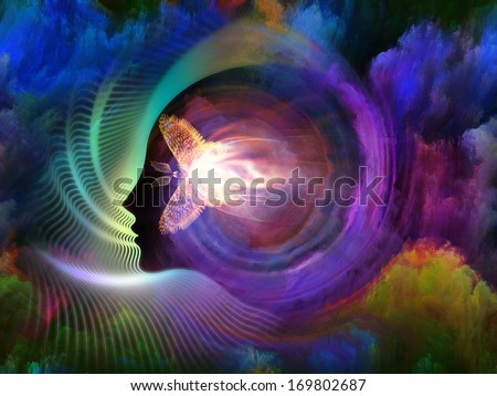 Geometry of the Soul series two. Background design of human profile and abstract elements on the subject of spirituality, science, creativity and human mind - stock photo